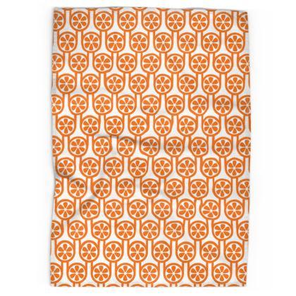 Orange oranges tea towel