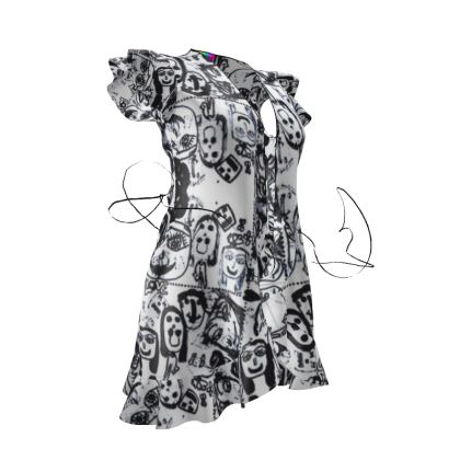 Black & White Faces by Elisavet Tea Dress