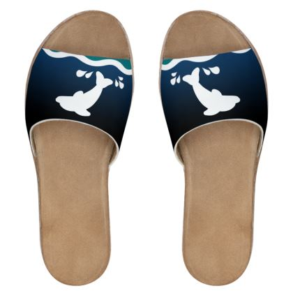 Women's Leather Sliders - Dolphin