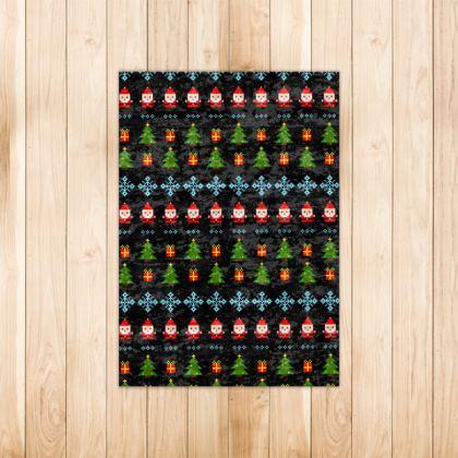 Pixel Art Christmas Pattern Rug - Black