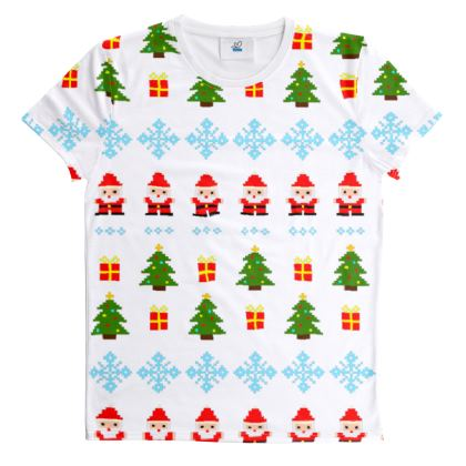 Pixel Art Christmas Pattern Cut And Sew All Over Print T Shirt - White
