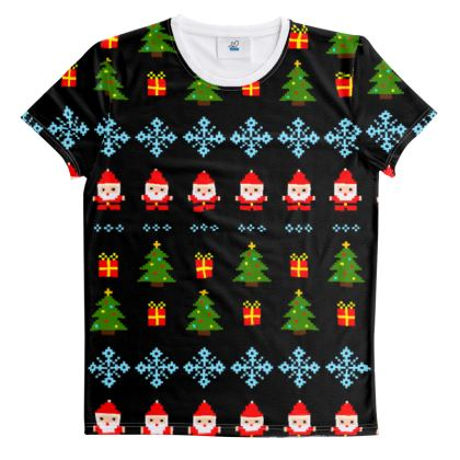 Pixel Art Christmas Pattern Cut And Sew All Over Print T Shirt - Black