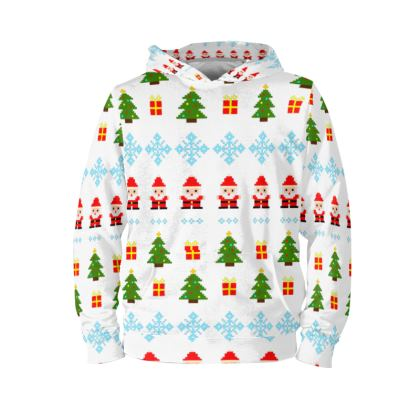 Pixel Art Christmas Pattern Hoodie - White