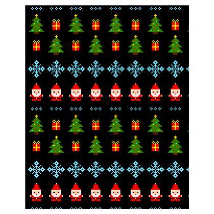 Pixel Art Christmas Pattern Hoodie - Black