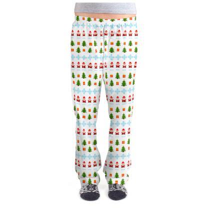 Pixel Art Christmas Pattern Ladies Pyjama Bottoms - White