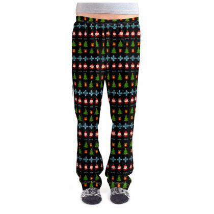 Pixel Art Christmas Pattern Ladies Pyjama Bottoms - Black