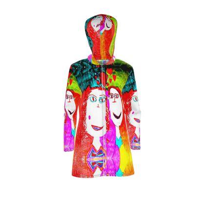 Pop Art Kids Love by Elisavet Womens Hooded Rain Mac