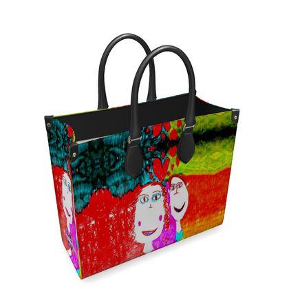 Pop Art Kids Love by Elisavet Leather Shopper Bag