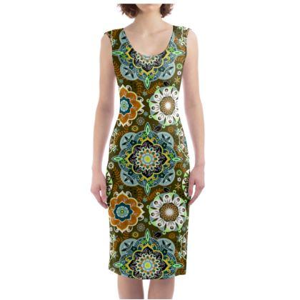Mandala Army  Green Bodycon Dress
