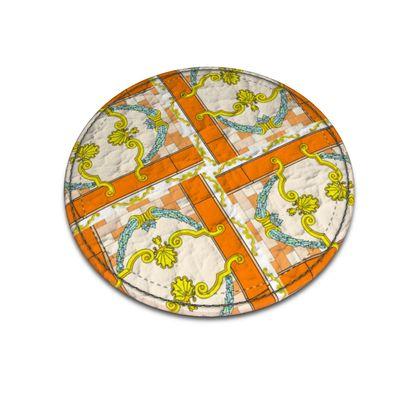Roads Of Barcelona - Orange - Leather Coasters
