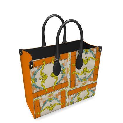 Roads Of Barcelona - Orange - Leather Shopper Bag