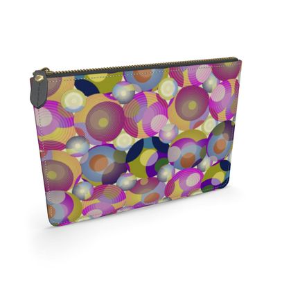 Moon Collection on cream Leather Pouch