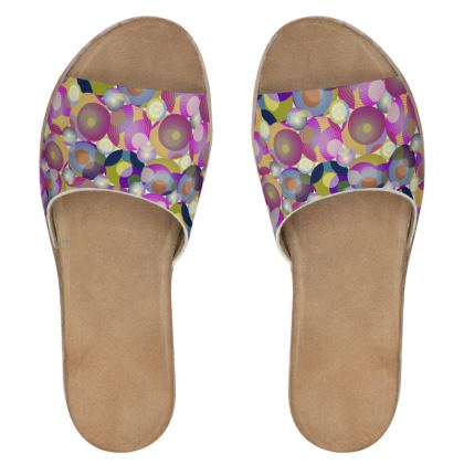Moon Collection on cream Womens Leather Sliders