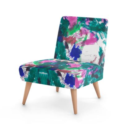 Vibrant 90s Multicolour Abstract Print Chair