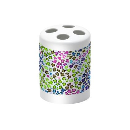 Leopard Skin Multicoloured Collection Toothbrush Holder