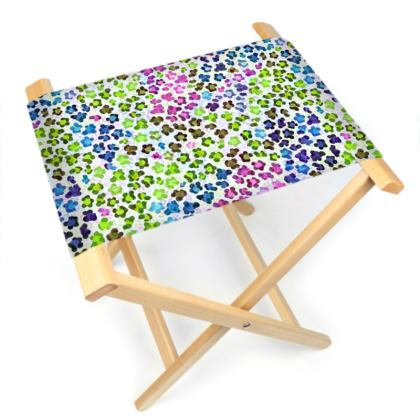 Leopard Skin Multicoloured Collection Folding Stool Chair