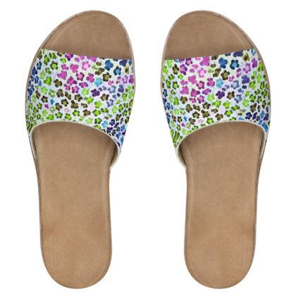 Leopard Skin Multicoloured Collection Womens Leather Sliders