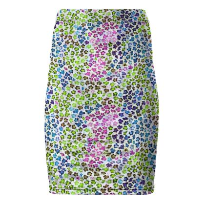 Leopard Skin Multicoloured Collection Pencil Skirt