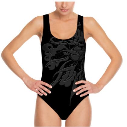 Swimsuit - Baddräkt - Grey ink black