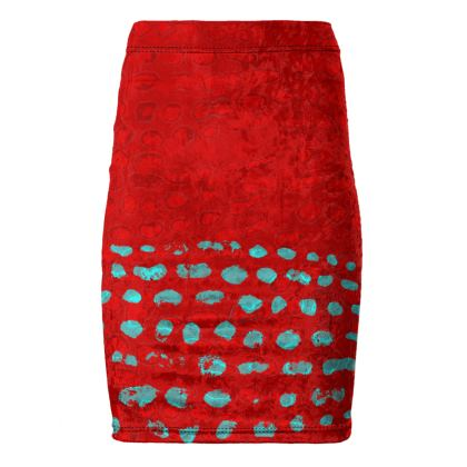 Textural Collection in red and turquoise Pencil Skirt