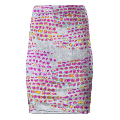 Textural Collection in grey and magenta Pencil Skirt