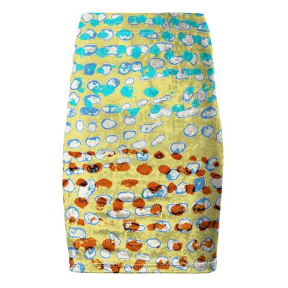 Textural Collection in beige and turquoise Pencil Skirt
