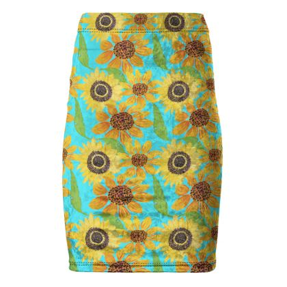 Naive Sunflowers On Turquoise Pencil Skirt