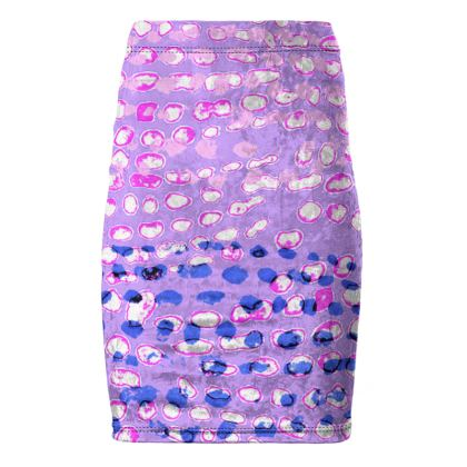 Textural Collection multicolored in mauve and blue Pencil Skirt