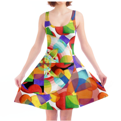 Psychedelic Patchwork Skater Dress