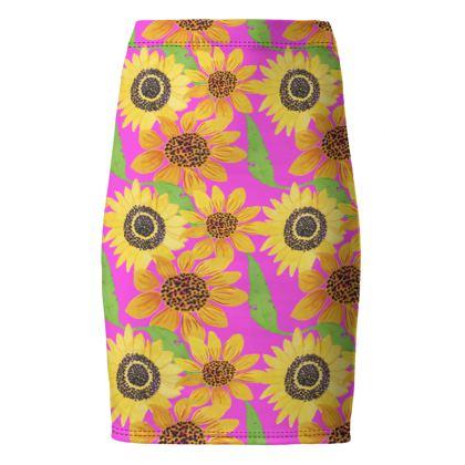 Naive Sunflowers On Fuchsia Pencil Skirt