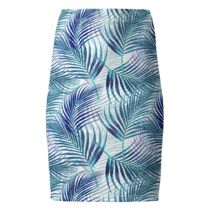 Tropical Garden in Blue Collection Pencil Skirt