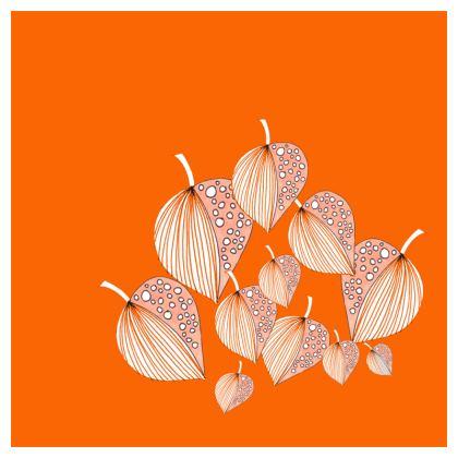 Cushion: Stripy Leaves Motif on Orange