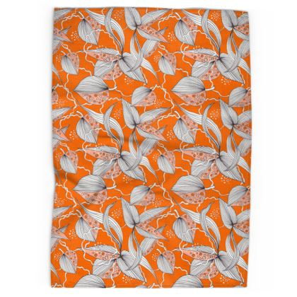 Tea Towel: Stripy leaves on Orange