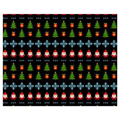 Pixel Art Christmas Pattern Kimono - Black
