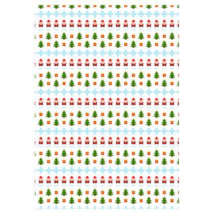 Pixel Art Christmas Pattern Dressing Gown - White