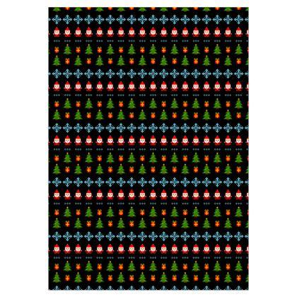 Pixel Art Christmas Pattern Dressing Gown - Black
