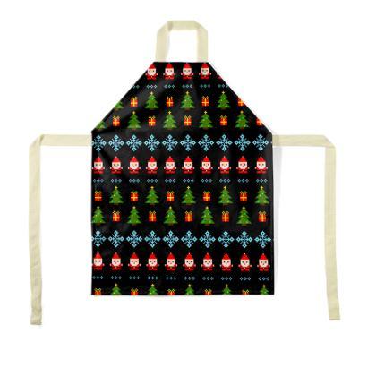 Pixel Art Christmas Pattern Aprons - Black