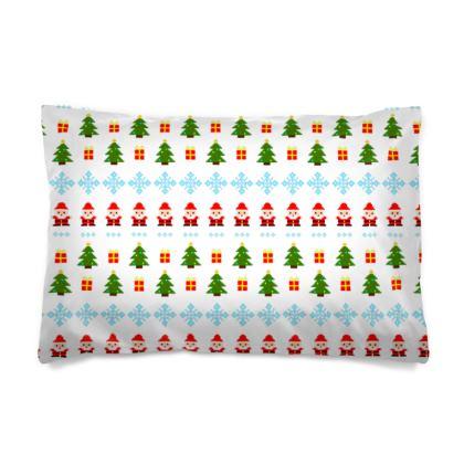 Pixel Art Christmas Pattern Pillow Case - White