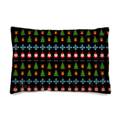 Pixel Art Christmas Pattern Pillow Case - Black