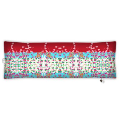 Red Teasel Sky Branch Bolster Cushion