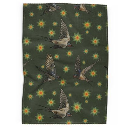 Swallows and Stars Tea Towel - Moss