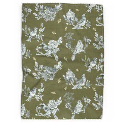 Chinoise Olive Grey Tea Towel