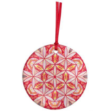 Christmas Ornaments Mandala Red Flower 2