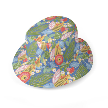 Paradise House Tropical Floral Blue Bucket Hat
