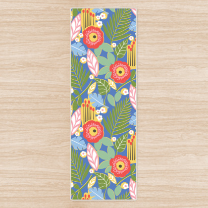 Paradise House Tropical Floral Blue Yoga Mat