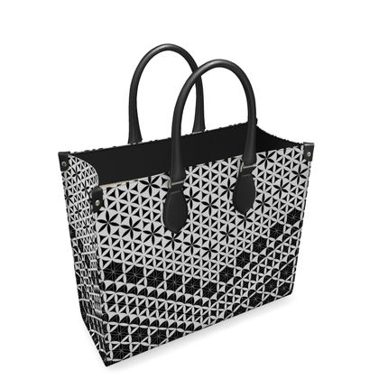 Leather Shopper Bag Flower Of Life 1
