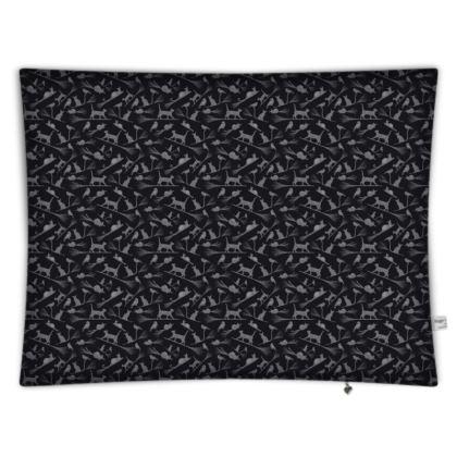 Floor Cushion - Black Cats on Broomsticks