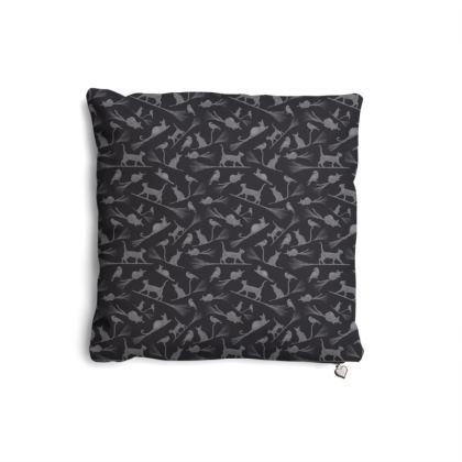 Cushion: Black Cats on Broomsticks