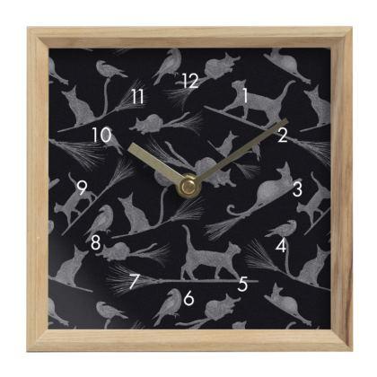 Clock: Black Cats on Broomsticks