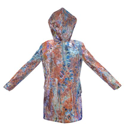 Womens Hooded Rain Mac Watercolor Texture 1